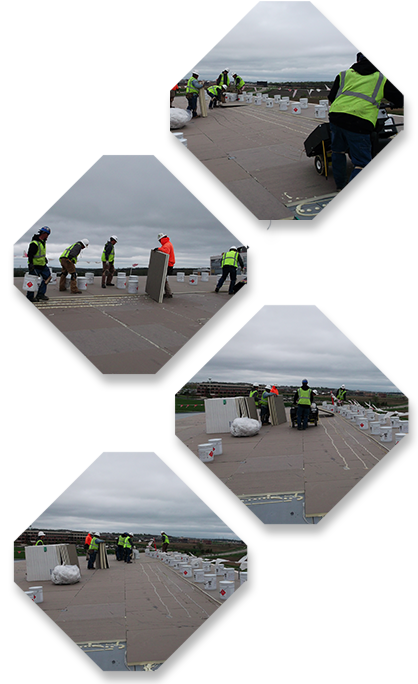Wisconsin roofing contractor working on a commercial flat roof replacement